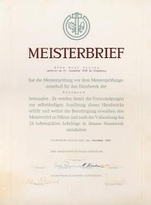 Meisterbrief Tischler Rolf Delang