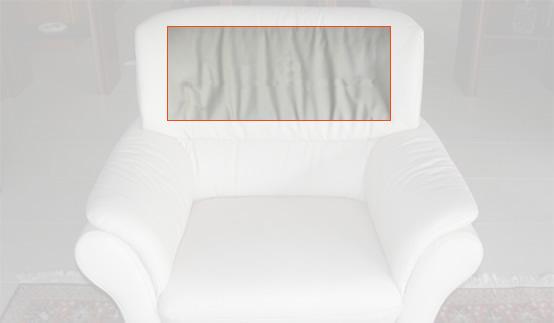 Beispiele für häufige Schadensfälle im Bereich Polstermöbel: Faltenbildung im Bezug