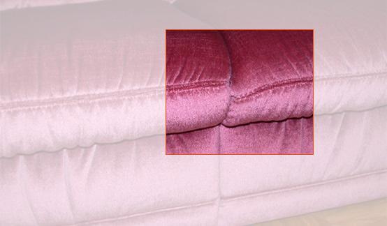 Beispiele für häufige Schadensfälle im Bereich Polstermöbel: Versatz der Nähte