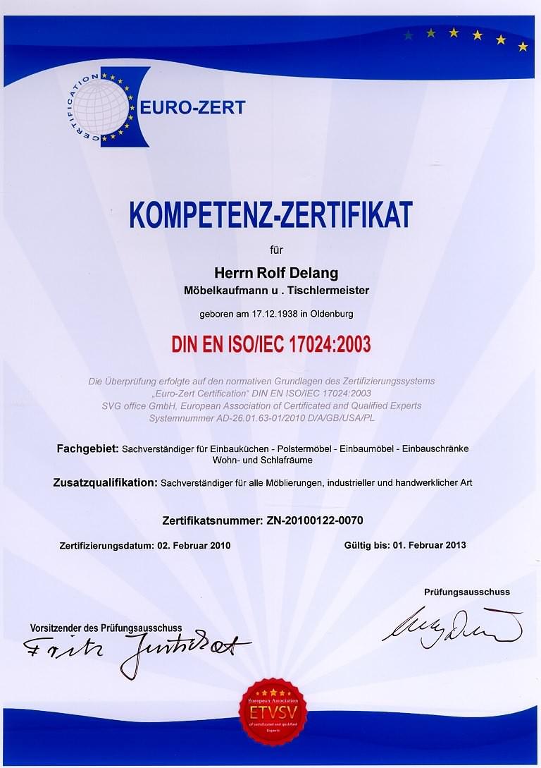 Kompetenz-Zertifikat Rolf Delang